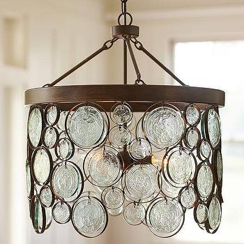 Lighting - Emery Recycled Indoor/Outdoor Glass Chandelier | Pottery Barn - glass disc chandelier, recycled glass disc chandelier, glass disc and iron chandelier,