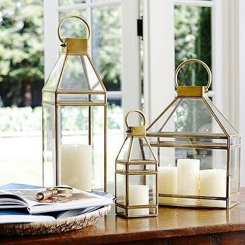 Decor/Accessories - Meredith Brass Lanterns | Pottery Barn - brass candle lantern, brass lantern, brass ship lantern candle holder, ship lantern candle holder,