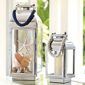 Decor/Accessories - Peyton Rope Lanterns | Pottery Barn - nickel candle lantern, nickel and rope candle lantern, silver rope candle lantern,