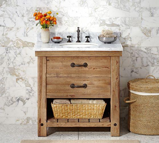 benchwright single sink console wax pine finish