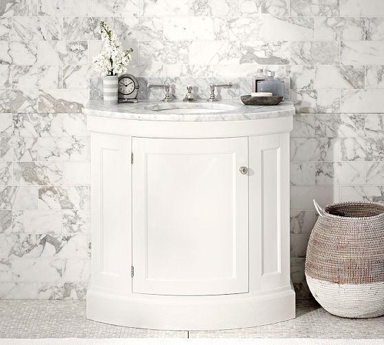 White Barn Sink : Single Sink Console - White Pottery Barn - white demilune sink ...