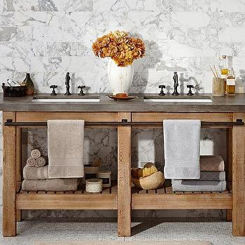 Bath - Abbott Double Sink Console | Pottery Barn - industrial sink console, industrial dual sink vanity, pine sink console, pine sink console with concrete counter, industrial sink vanity with concrete counter,
