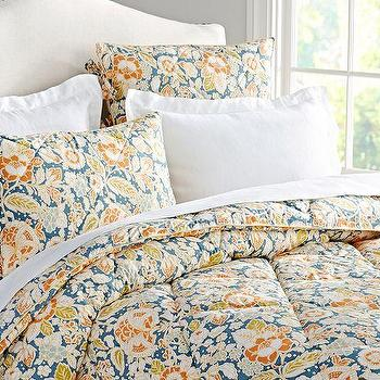 Bedding - Maggie Floral Comforter & Sham | Pottery Barn - blue and orange floral comforter, blue and orange floral duvet, retro floral comforter, blue and orange floral bedding, retro floral duvet,