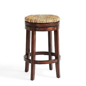 Seating - Donovan Kitchen Swivel Barstool | Pottery Barn - woven swivel barstool, backless barstool with woven seat, backless swivel barstool,