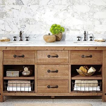 Bath - Benchwright Double Sink Console - Wax Pine finish | Pottery Barn - pine double sink console, industrial double sink console, industrial dual sink vanity, pine dual sink vanity with marble counter,