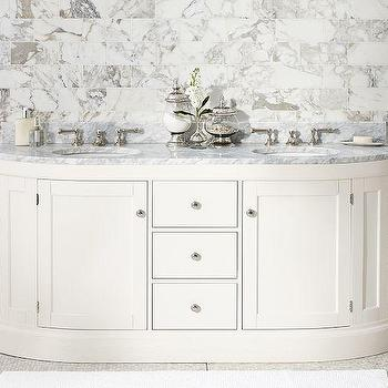 Bath - Brinkley Demilune Double Sink Console - White | Pottery Barn - white deminlune sink console, white demilune double sink console, demilune sink console with dual sink,