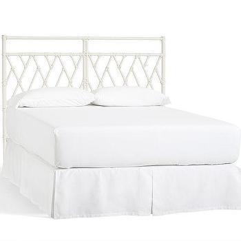 Beds/Headboards - Mara Rattan Headboard | Pottery Barn - white rattan headboard, white bamboo trellis headboard, white chinese chippendale style headboard,