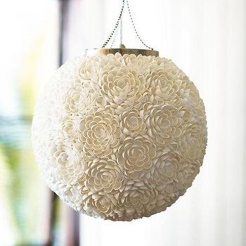 Lighting - Cassie Shell Pendant | Pottery Barn - shell pendant, round shell pendant, floral shell pendant, sphere shaped shell pendant,