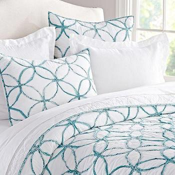 Bedding - Jackie Applique Quilt & Sham | Pottery Barn - blue geometric bedding, blue interlocking circle duvet, blue interlocking circle quilt, blue and white geometric bedding, blue and white geometric bed linens,