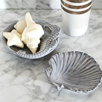 Bath - Sea Life Soap Dishes | Pottery Barn - seahorse soap dish, gray seahorse soap dish, clam shell soap dish, gray clam shell soap dish,