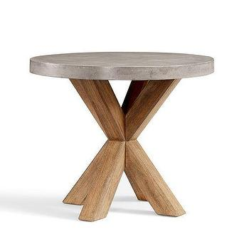 Tables - Abbott Concrete Top Round Fixed Bistro Table | Pottery Barn - x base bistro table, industrial bistro table, bistro table with concrete top,