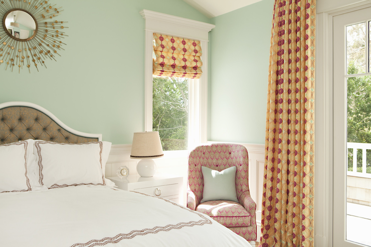 Seafoam green walls contemporary bedroom thornton for Orange and green bedroom designs