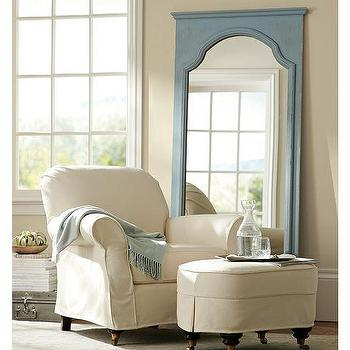Mirrors - Sonia Floor Mirror | Pottery Barn - blue floor mirror, antiqued blue floor mirror, vintage blue floor mirror,