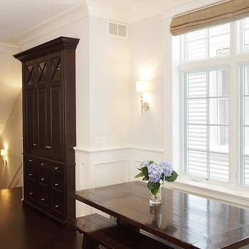 Beautiful breakfast nook features super pale walls on upper part of walls and ...