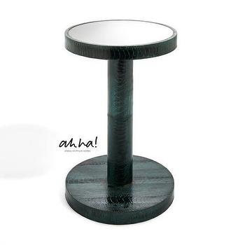 Tables - ahha - Cheyne I Anne Hepfer - ostrich leather side table, spool side table, mirror topped spool side table, green ostrich leather side table,