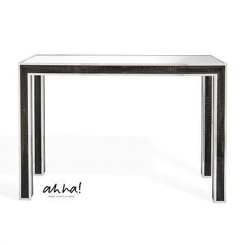 Tables - ahha - Kelly I Anne Hepfer - black ostrich leather console, ostrich leather console table, ostrich leather parsons console, black and silver parsons console table,