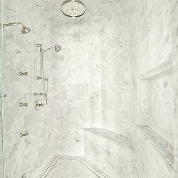 Walk in shower with Corner Shower Bench, Transitional, bathroom, PLD Custom Homes