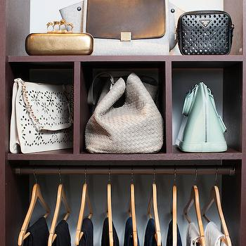 Neat Method - closets - closet built ins, dark closet built ins, bag cubbies, bag storage ideas,  Walk-in closet features dark stained cubbies