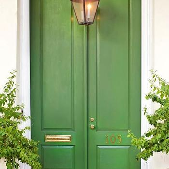 home exteriors - green doors, green front doors, front doors, double front doors, home numbers, brass home numbers,  Beautiful home exterior