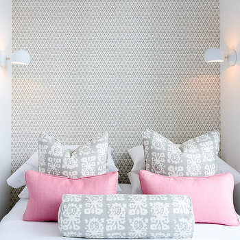Lonny Magazine - girl's rooms - pink and gray rooms, pink and gray bedrooms, accent wall, bedroom accent wall, accent wall bedroom, wallpapered accent wall, accent wall wallpaper, wallpaper headboard, gray geometric wallpaper, white and gray pillows, pink lumbar pillows, gray bolster pillow,