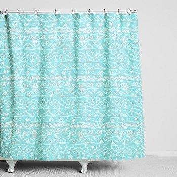 Bath - Magical Thinking Sketched Geo-Stripe Shower Curtain I Urban Outfitters - turquoise and white shower curtain, turquoise patterned shower curtain, turquoise shower curtain,