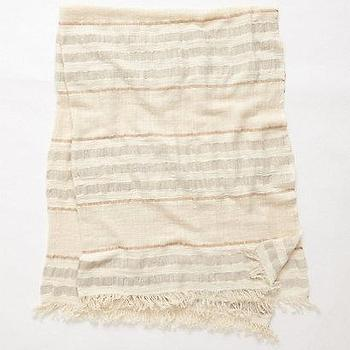 Bedding - Handwoven Akeno Throw I anthropologie.com - striped neutral throw, striped neutral fringed throw, striped cotton bamboo throw,