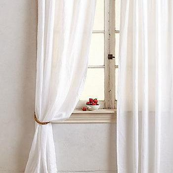 Window Treatments - Linen Balsas Curtain I anthropologie.com - white linen drapes, white linen curtains, white belgian linen drapes, white belgian linen curtains,