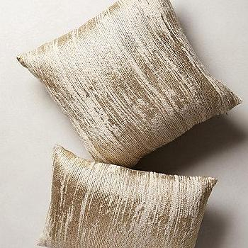 Pillows - Plaited Metallics Pillow I anthropologie.com - gold pillow, metallic gold pillow, gold threaded pillow,