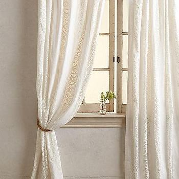 Window Treatments - Florentine Curtain I anthropologie.com - patterned linen voile drapes, patterned linen voile curtains, linen cotton voile drapes, linen cotton voile curtains,
