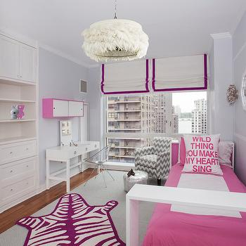 Lily Z Design - girl's rooms: gray walls, gray wall color, pink and gray girls room, pink and gray kids room, pink and white bed, modern pink bed, modern pink and white kids bed, modern pink youth bed, pink and white bedding, pink bordered bedding, pink bordered duvet, painted wall molding, modern silver wall sconce, white mirror, modern white mirror, lacquered white mirror, floor to ceiling windows, grosgrain trimmed roman shade, grosgrain trimmed window shade, purple zebra rug, faux zebra rug, modern purple zebra rug, gray carpet tile, gray carpet tiled rug, layered rugs, hardwood floors, feathered pendant light, feathered chandelier, built in closet, built in dresser drawers, moroccan pouf, silver moroccan pouf, gray chevron armchair, white desk, modern white desk, wall mounted locker, pink and white locker, acrylic desk chair, see through desk chair, Wild Thing You Make My Heart Sing Pillow, anemone sconce, ostrich chandelier, feather chandelier, ostrich feather chandelier, pink and purple kids room, pink and purple girls room, kids vanity, ducduc vanity, white lacquer vanity, lacquered vanity, ducduc bed,