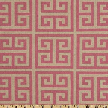Fabrics - Premier Prints Towers Rosa Oatmeal/Pink I Fabric.com - pink greek key fabric, pink and neutral geometric fabric, greek key fabric,