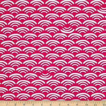 Fabrics - Koi Organic Cotton Canvas Smile & Wave Rose I Fabric.com - hot pink and ivory fabric, hot pink fish scale wallpaper, hot pink and white fabric,