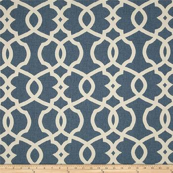 Fabrics - Magnolia Home Fashions Emory Yacht I Fabric.com - blue and ivory lattice fabric, dusty blue and ivory fabric, blue and ivory fabric, blue and ivory trellis fabric,