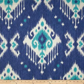 Fabrics - Magnolia Home Fashions Dakota Ikat Ocean I Fabric.com - blue and turquoise fabric, blue and jade fabric, blue ikat fabric, blue and turquoise ikat fabric,