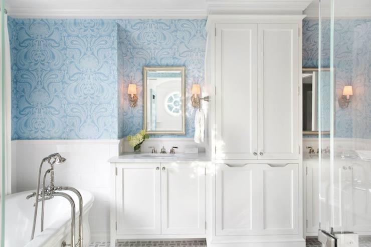 Blue flocked wallpaper transitional bathroom traci for Blue bathroom wallpaper