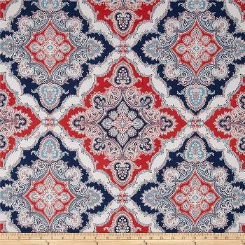 Fabrics - P Kaufmann Indoor/Outdoor Zoie Blue Marine I Fabric.com - red white and blue outdoor fabric, navy red and white outdoor fabric, red white and blue patterned fabric