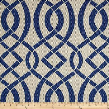 Fabrics - Richloom Solar Outdoor Empire Navy I Fabric.com - blue lattice print fabric, navy lattice print fabric, navy and tan outdoor fabric, navy and tan lattice print fabric,
