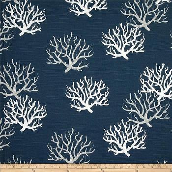 Fabrics - Premier Prints Isadella Coral Slub Premier Navy I Fabric.com - navy coral print fabric, navy blue coral print fabric, navy and white coral fabric,