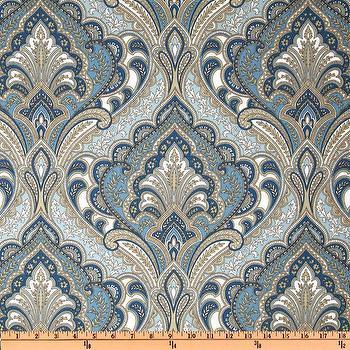 Fabrics - Richloom Solarium Outdoor Grovedale Paisley Sky I Fabric.com - blue paisley fabric, blue and taupe fabric, blue and taupe paisley fabric,