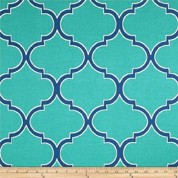 Fabrics - Richloom Solar Outdoor Irondale Turquoise I Fabric.com - turquoise moroccan tile fabric, turquoise arabesque fabric, indoor outdoor turquoise moroccan fabric,