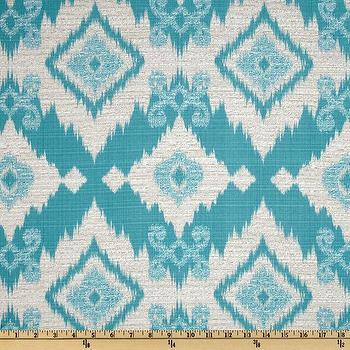 Fabrics - Richloom Solarium Outdoor Santaeo Ikat Pool I Fabric.com - aqua blue ikat fabric, aqua blue and ivory ikat fabric, aqua blue outdoor ikat fabric,