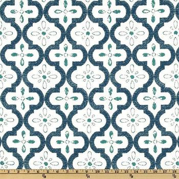 Fabrics - P Kaufmann Indoor/Outdoor Conservatory Aquamarine I Fabric.com - teal blue moroccan fabric, teal blue moroccan tile fabric, blue moroccan tile print fabric,