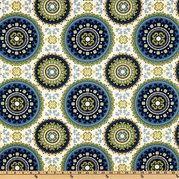 Fabrics - Richloom Indoor/Outdoor Bindis Summer I Fabric.com - blue lime green and yellow fabric, blue and green medallion fabric, indoor outdoor medallion fabric,