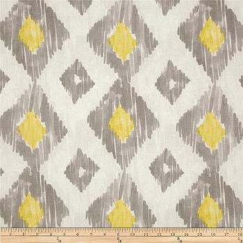 Fabrics - Richloom Kashan Ikat Lemongrass I Fabric.com - gray and yellow fabric, gray and yellow ikat fabric, gray and yellow ikat diamond fabric, ikat fabric,
