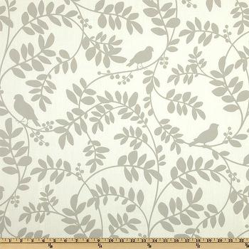 Fabrics - Dwell Studio Botany Flora Taupe I Fabric.com - gray and ivory floral fabric, gray and ivory birds and branches fabric, birds and branches fabric, gray birds and branch fabric,