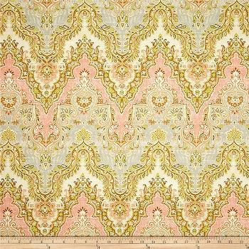 Fabrics - Waverly Palace Sari Slub Rosewater I Fabric.com - patterned peach fabric, traditional peach fabric, peach tan and gray fabric,