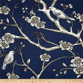 Fabrics - Dwell Studio Vintage Blossom Slub Twilight I Fabric.com - indigo blue bird print fabric, blue birds and branches fabric, indigo blue birds and branches fabric,
