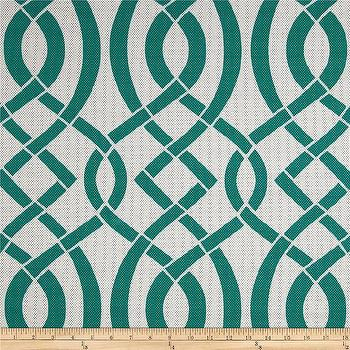 Fabrics - Richloom Solar Outdoor Empire Teal I Fabric.com - jade green geometric fabric, teal green geometric fabric, teal green and white geometric fabric,