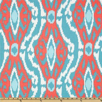 Fabrics - Premier Prints Sherpa Ikat Coastal I Fabric.com - coral pink and aqua fabric, coral and blue fabric, coral and aqua ikat fabric, coral blue and aqua ikat fabric,