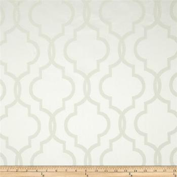 Fabrics - Rockland Quatrefoil Satin Jacquard Snow White I Fabric.com - gray and white moroccan fabric, gray and white quatrefoil fabric, gray and white arabesque fabric,